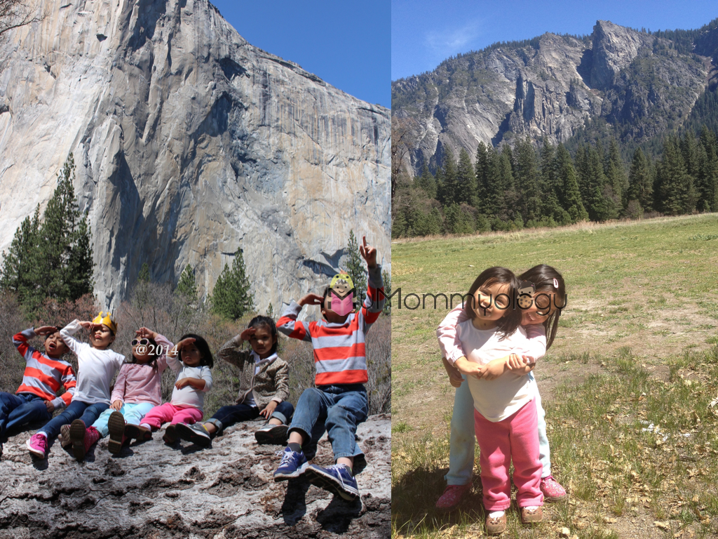 Saluting to El Capitan on the left, and the Cathedral Rocks on the right.